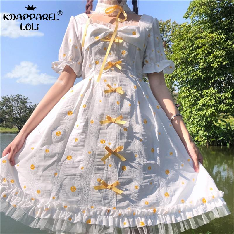 Summer Japanese Lolita Girls Dresses Kawaii Sweet Square Collar High Waist Bows Short Sleeve Small Daisy A-line Lace Fairy Women