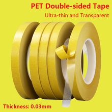 PET Double-sided Adhesive Tape Ultra-Thin 0.03mm Thick Transparent Double-sided Tape Acrylic Adhesive Yellow Film Tape 100m Long