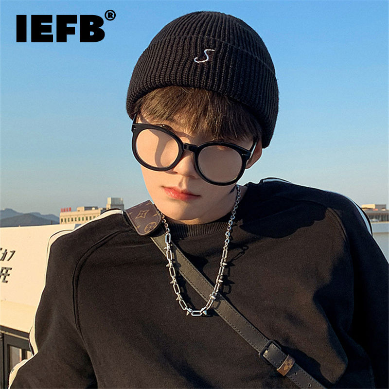 IEFB Korean Design Fashion Chic Letter Spliced Knitting Hat Men And Women New Outdoor Warm Cold Hats Tide Autumn Winter 2021