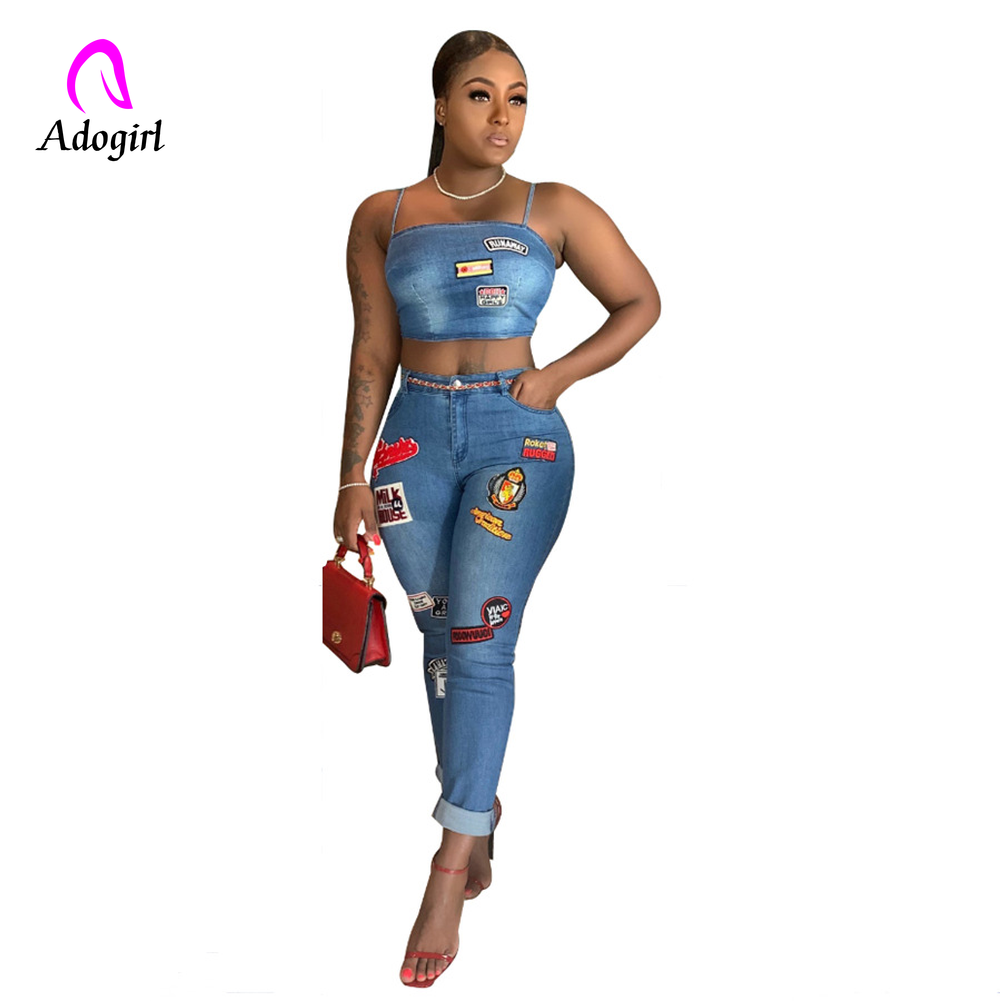 Adogirl Denim 2 Piece Set Womens Jeans Suit Washed Casual Zipper Backless Spaghetti Strap Crop Top Patch