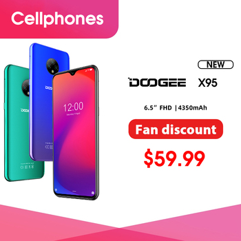 """New DOOGEE X95 Android 10 4G-LTE Cellphones 6.52"""" Display MTK6737 16GB ROM Dual SIM 13MP Triple Camera 4350mAh Battery"""