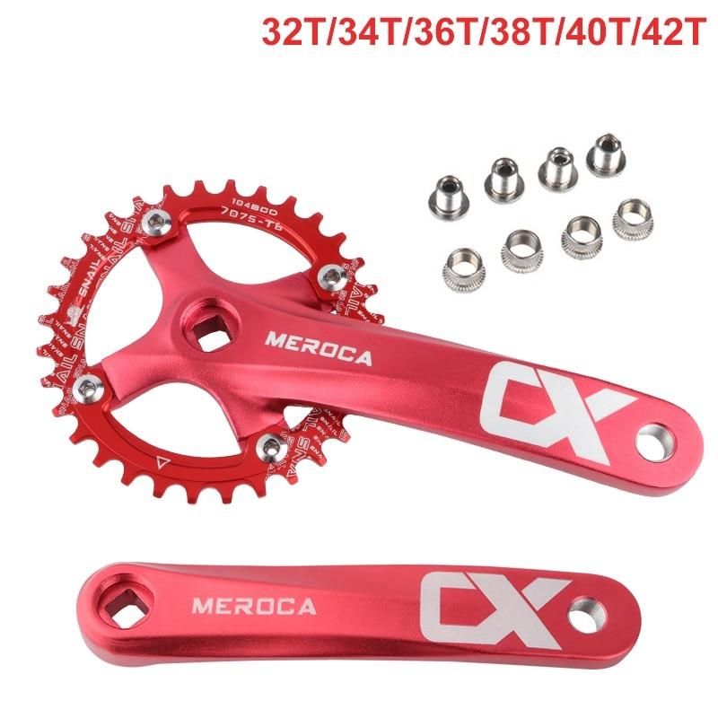 MTB Crankset Square Hole Sprocket 104BCD 170mm Crank Mountain Bike Crankset Narrow Wide Chainring 32/34/6/38/40/42T Bike Crank