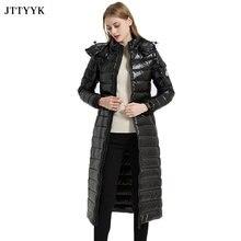 High Quality Winter Parka Feather Woman Snow Coat Women Hooded White Duck Down Jacket Warm Slim X-Long Black Puffer Jacket Women