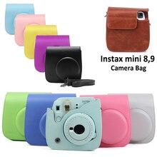 Für Fujifilm Instax Mini 8 Mini 9 Kamera PU Leder Farbe Tasche Instax Mini fall mit Schulter Gurt Transparente Kristall abdeckung