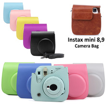 For Fujifilm Instax Mini 8 Mini 9 Camera PU Leather Color Bag Instax Mini case with Shoulder Strap Transparent Crystal Cover