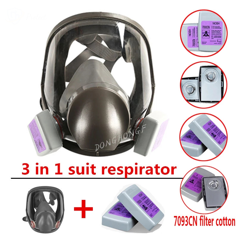 3 in 1 6800 Dust-Proof Gas Mask P100 Filter Type Full Face Gas Mask Used For Spray Paint Spray Work Safety Mask 7093CN Filter
