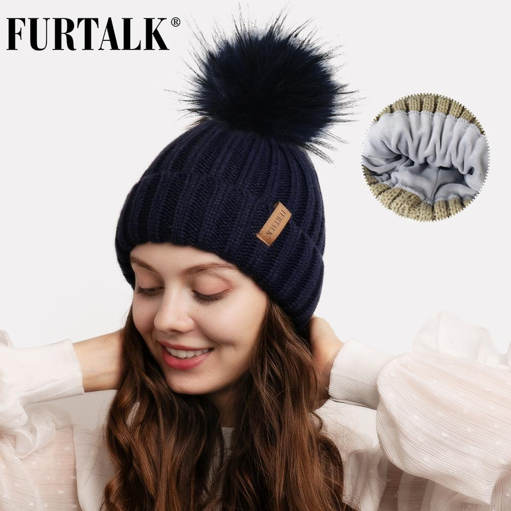 FURTALK Beanie Hat Winter Hats For Women Knitted Faux Fur Pompom Hat With Fleece Lined Female Winter Cap Skullies Black Grey
