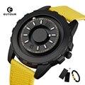Eutour relógio magnético masculino luxo à prova dwaterproof água relógio de pulso dos homens cinta de náilon moda bola mostrar unisex relógio de quartzo erkek kol saati