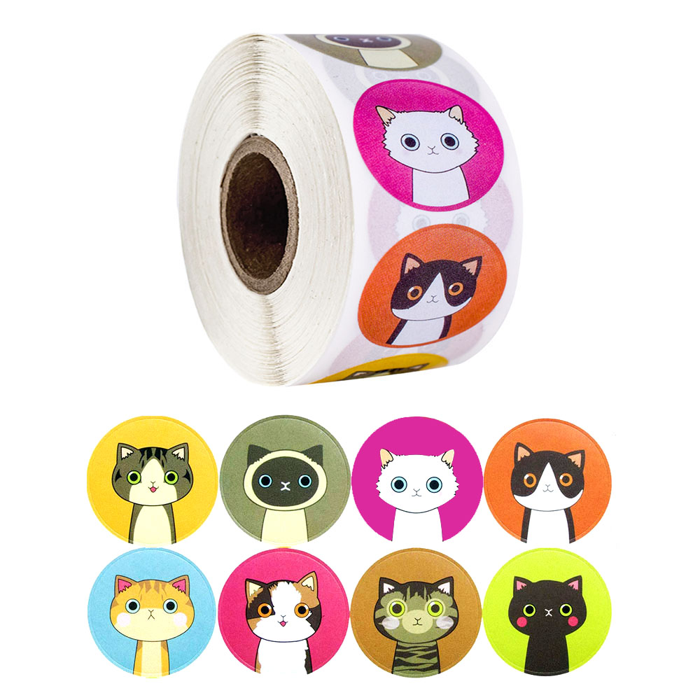 500pcs/roll Lovely Cat Stickers For School Reward Stickers Classroom Decoration Encouragement Sticker For Student Teacher