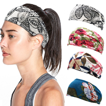 Summer Elastic Stretch Wide Hairbands Sport Hair Band Multicolor Floral Print Hair Band Sports Running Yoga SPA Hair Accessories image