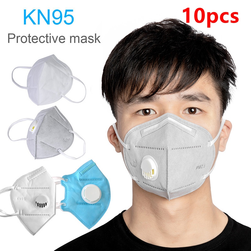 1/5/10pcs KN95 With Breathing Valve Folding Protective N95 FFP3 Ear Band Mask Anti-Fog Dust Mask Fast Delivery