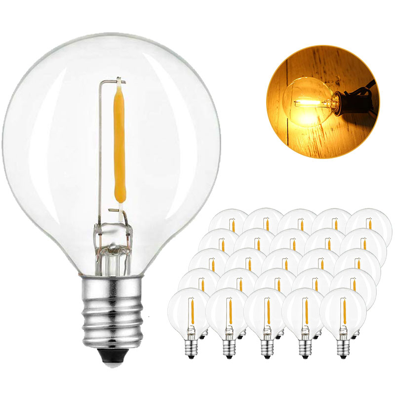 DCOO LED G40 Replacement Bulbs E12 Screw Base LED Globe Light Bulbs For Patio String Lights Equivalent 5W/7W Clear Light Bulbs
