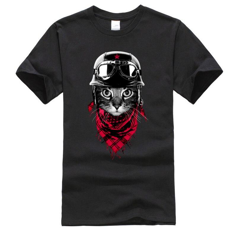 Men Tshirts Retro Aviator Cat Funny Tops & Tees Motorcycle Cat Cotton Fabric O Neck Short Sleeve Clothing Shirt Drop Shipping
