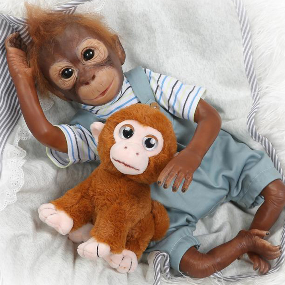 Nouveau 52CM fait à la main très détaillé peinture reborn bébé singe orangs-outans à collectionner haute qualité singes silicone poupée jouets cadeau