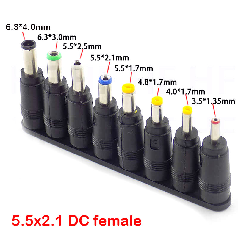 8 In 1 5.5X 2.1 MM DC Power Jack Female Plug Adapter Connectors To 6.3 6.0 5.5 4.8 4.0 3.5 2.5 2.1 1.7 1.35 Male Tips Adaptor