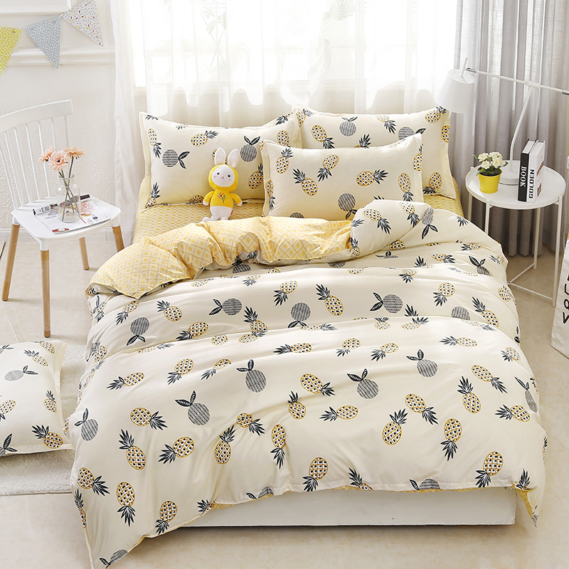 Double Sided Pineapple Print Bedding Sets Duvet Cover Pillowcase Bed Sheet Set