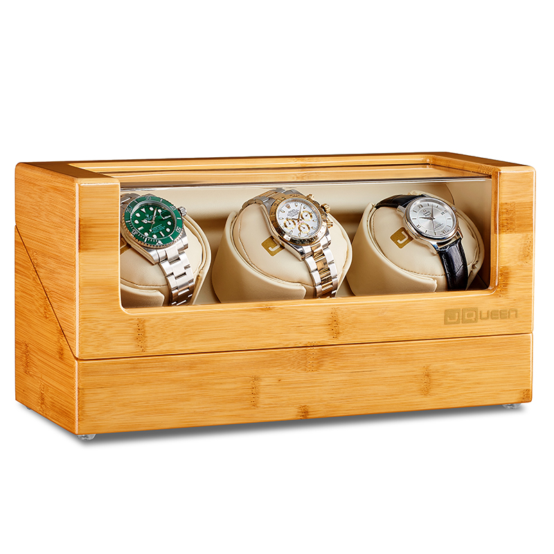 Case-Box Watch-Winder Mechanical-Watch Display Automatic Wood Bamboo for 3 0