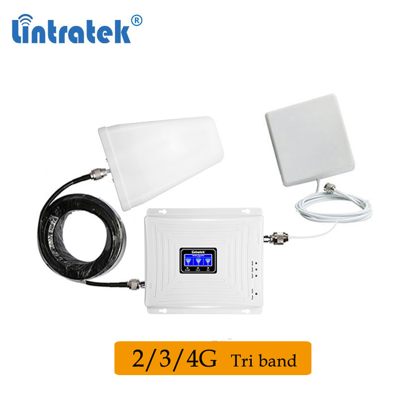 Lintratek Tri Band 2G 3G 4G 900 1800 2100mhz 850 2600 Lte Signal Booster Sinal Cellular Amplifier Cellphone Signal Repeater Fh
