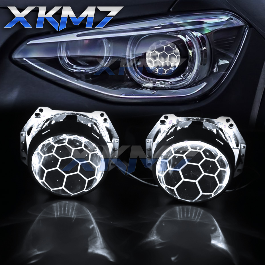 For Hella 3R G5 5 Headlight Lenses Honeycomb HID Projector D1 D2 D3 D4 Bi-xenon 3.0 Etching Lens Tuning Accessories Soccer Style