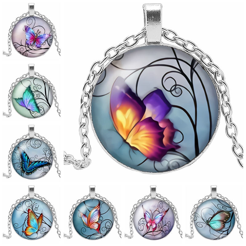 2019 New Explosion Beautiful Flower Butterfly Glass Convex Round Pendant Necklace Anime
