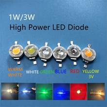 10 pces 1 w 3 w de alta potência led lâmpada diodos smd 110-120lm leds chip para 3 w-18 w luz de ponto downlight quente branco frio verde azul