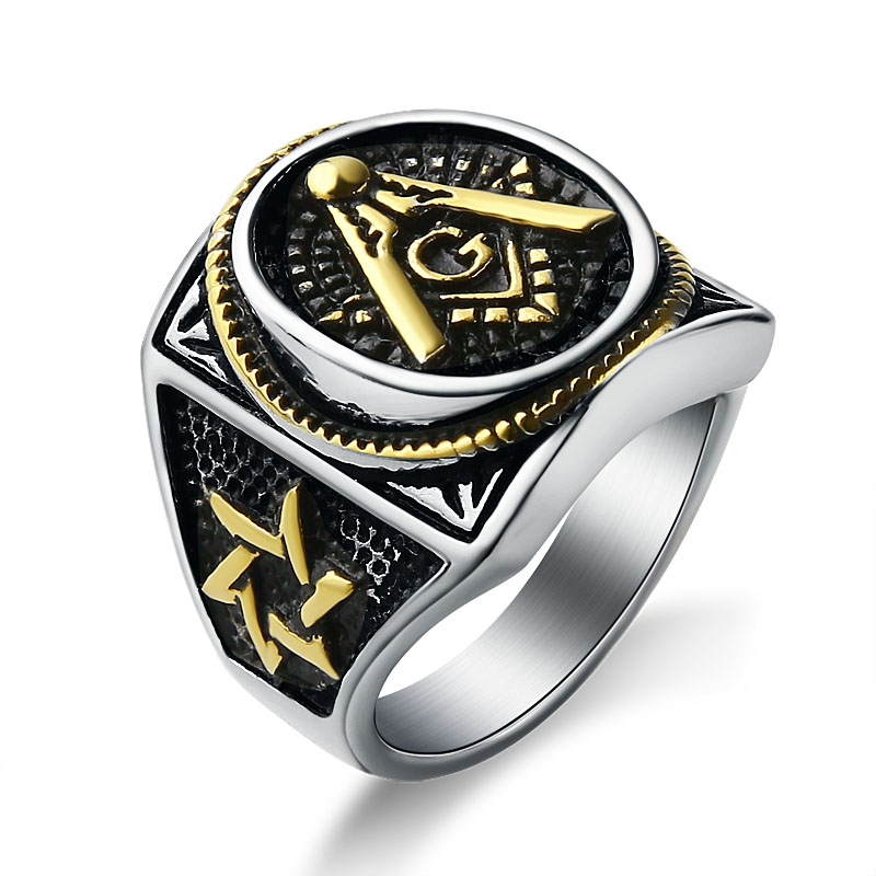 EdgLifU Men Gold Plating Mason Signet Ring Men's Stainless Steel Freemason Masonic Rings fashion Party ring Jewelry
