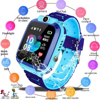LIGE IP67 Waterproof Childrens Smart Watch Baby SOS call location Finder LBS Locator Tracker anti-lost Monitor Child Gift
