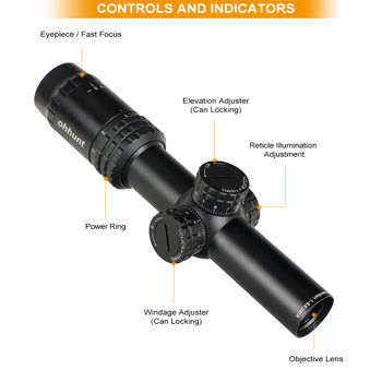 ohhunt Guardian 1-5X24 IR Hunting Thin Edge Riflescopes Glass Etched Reticle RG Illumination Turrets Lock Compact Shooting Scope 2