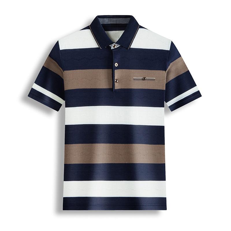 Ymwmhu New Men Striped Polo Shirt Pure Cotton Thin Summer Tops Casual Streetwear Clothes Slim Fit Casual Polo Shirt Men