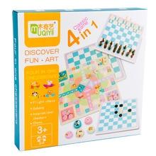Детские развивающие игрушки многофункциональные 4 в 1 деревянные шахматные игры Детская Память концентрация логическое мышление обучающая игрушка