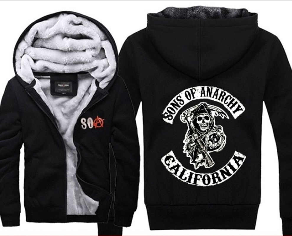 Sons of Anarchy caos del panno morbido di cotone cappotti Liberalismo Jax teller della chiusura lampo di inverno di Stampa Mens Felpe Giacca MC Addensare Sweaterwear