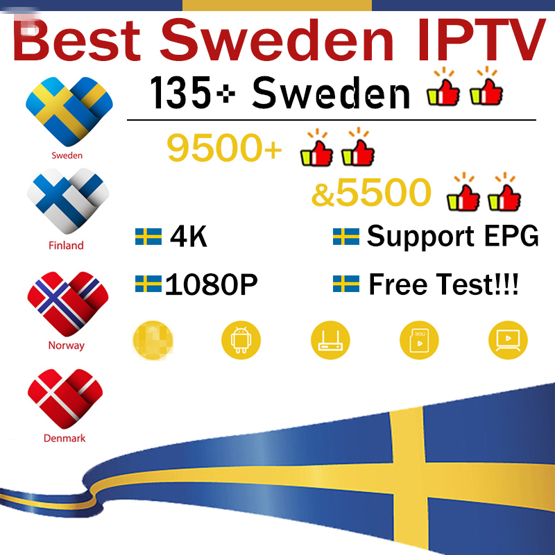 Best Sweden IPTV 9500+HD nordic Sweden dutch Norway german Arabic israel iptv m3u for android tv box m3u Smart tv box phone pc(China)