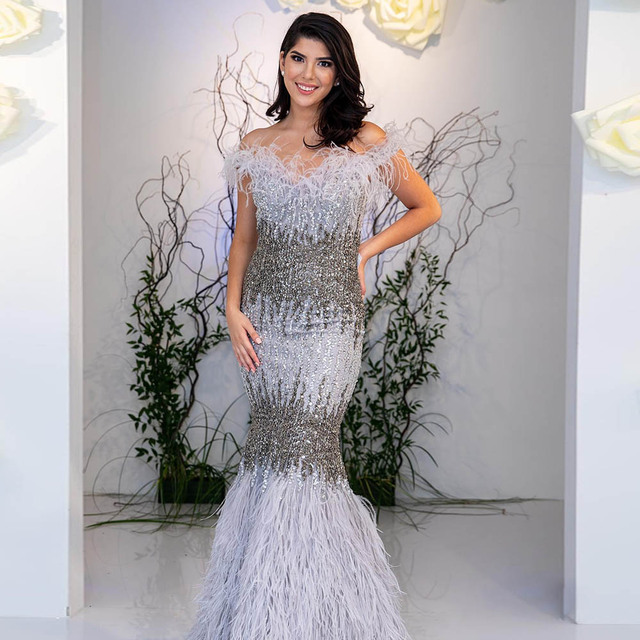 YQLNNE Luxury Silver Crystals Feather Evening Dresses Long Off the Shoulder Formal Evening Gown Dress Mermaid Robe de Soiree