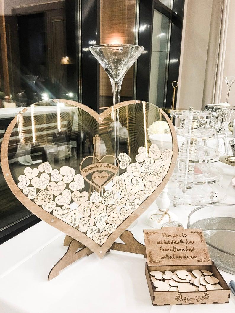Wedding Guest Book Alternative - Wedding Decor-Drop Heart Guestbook, Custom Transparent Heart Wedding Sign In Drop Box