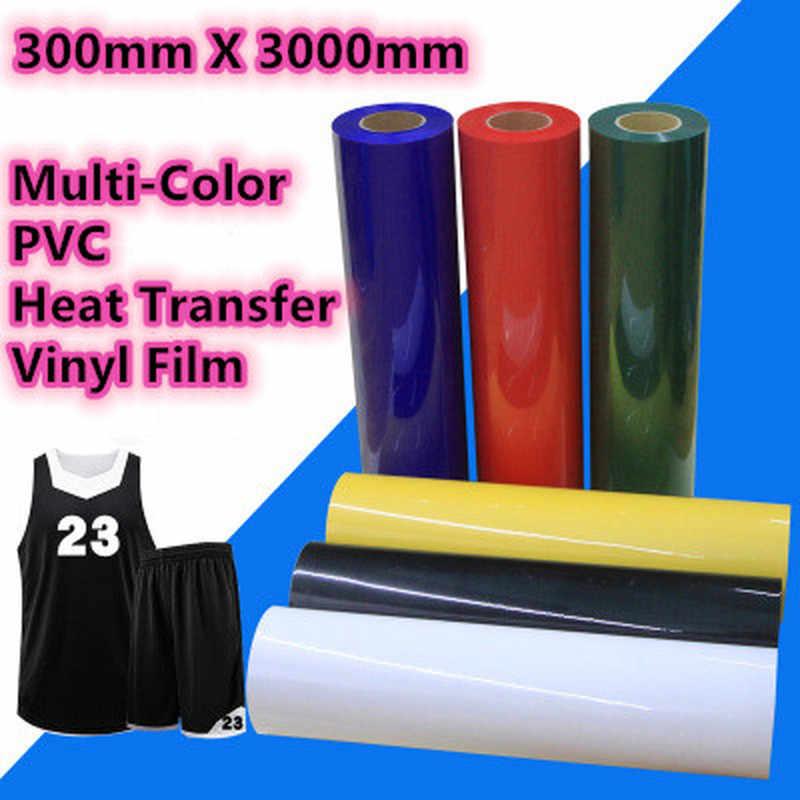 30 Cm X 300 Cm Pvc Warmteoverdracht Vinyl Film Multi-color Warmte Persmachine T-shirt Ijzer Op Htv afdrukken Vel Diy Kleding Film