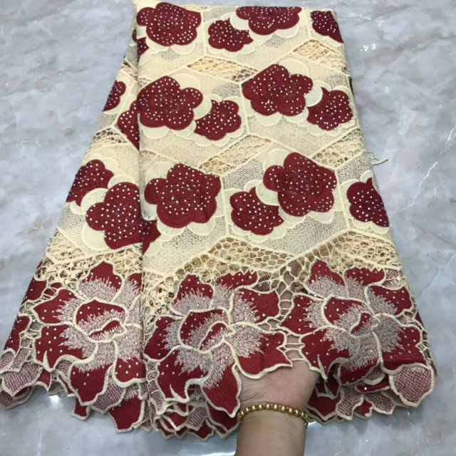 Tulle African Guipure Lace Fabric For Wedding Tissu Swiss Voile Lace For Dress Party Top Quality Embroidery Lace With Stones