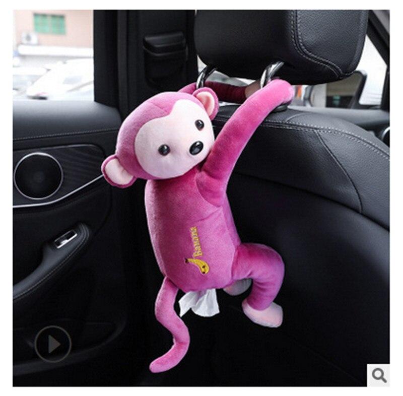 Креативный мультфильм обезьяна Вынимаемые салфетки коробки портативный домашний офис Авто Подвесная коробка из ткани покрытие полотенце Организация держателей - Цвет: Розовый