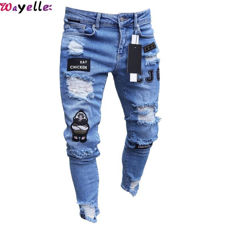 Ripped Jeans For Men Embroidery Hole Hip Hop Pants Men Skinny Biker Jeans Men Fashion White Blue Jeans Harem Pants Men Trousers