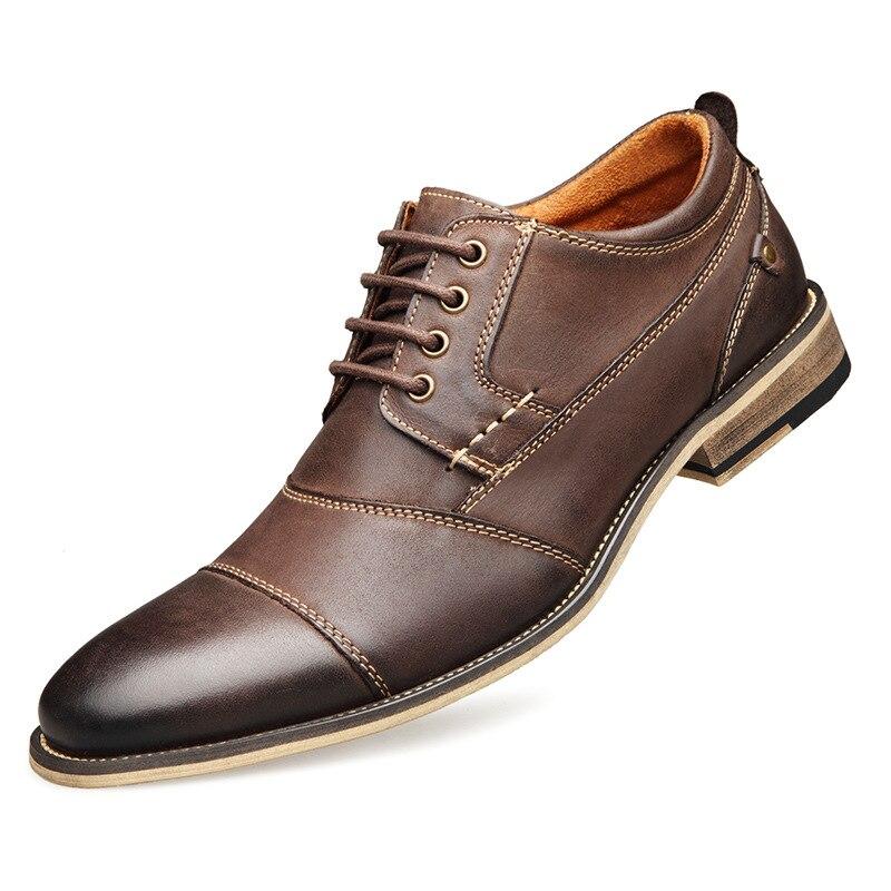 Hommes chaussures décontractées Top qualité Oxfords hommes en cuir véritable robe chaussures affaires chaussures formelles chaussures plates pour homme grande taille fête de mariage - 3