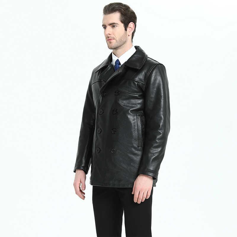 Lange Männer Leder Mantel Stepp Dicken 100% Natürliche Kuh Haut Aus Echtem Leder Jacke Mann Winter Mantel Lange Warme M200