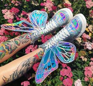 Image 2 - Лазерные серебристые, черные, розовые женские высокие кроссовки с украшением в виде крыльев бабочки, с круглым носком, на молнии, на шнуровке, женские короткие ботинки на плоской подошве
