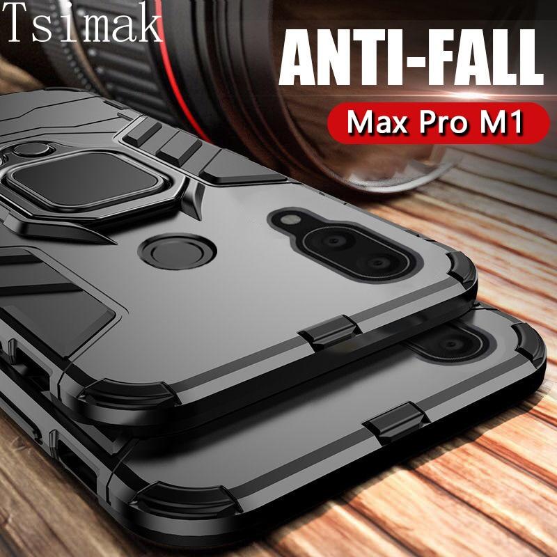 Capa tsimak à prova de choque, armadura com dedo magnético, com suporte max pro m1 zb601kl capa de proteção