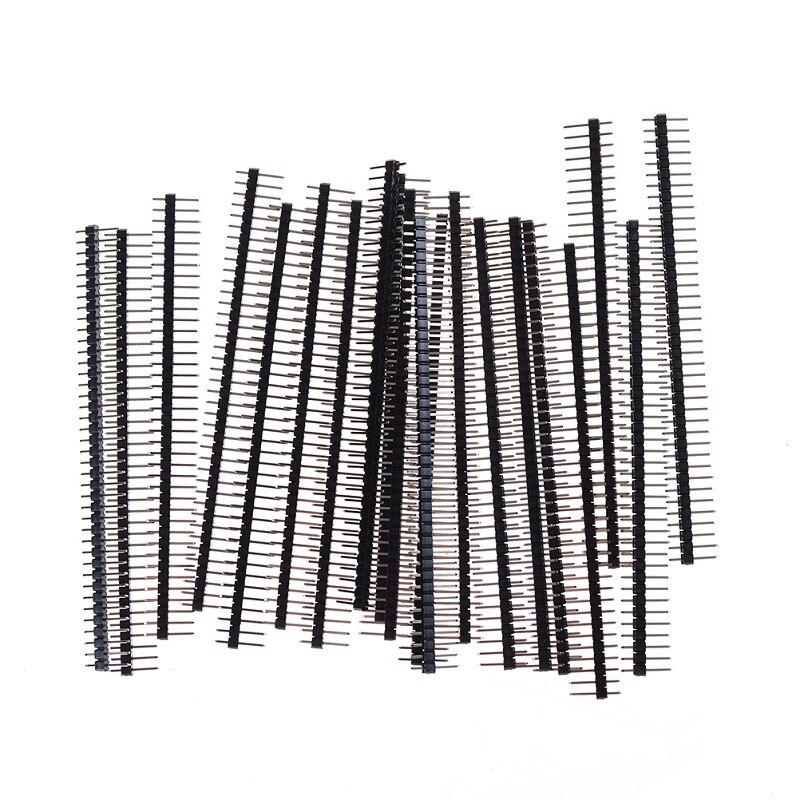 10 шт. контактный разъем для Arduino позолоченный 2,54 мм 80 контактов 2X40 ряд 1X40 40 контактов мужской кривой прямой полосы разъемы макет DIY