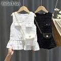Spring Autumn girls vest dress Baby dress kids brand vestidos Children clothes plaid gunny sleeveless chain bag 1 to 7 yrs