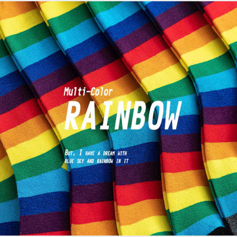 2019 Newest Fashion Novelty Rainbow Stripey Striped Multi Colour Pattern ANKLE Socks Women Sizes