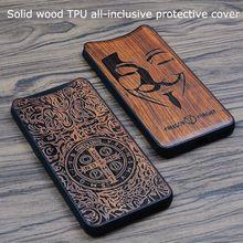 Pour OPPO Reno 4 SE 3 2 Ace2 trouver X X2 Pro Realme X7 solide sculpture sur bois étui de protection couverture tout compris coque en bois Funda