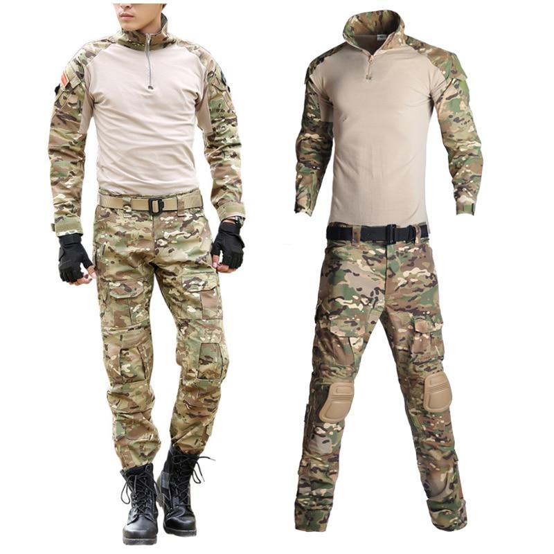 Açık erkekler Airsoft Paintball giyim askeri çekim üniforma taktik savaş kamuflaj gömlek erkekler pantolon ordu alman üniforma