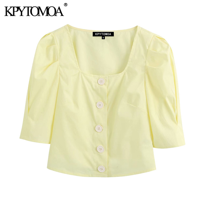 KPYTOMOA Women 2020 Sweet Fashion Buttons Cropped Blouses Vintage Square Collar Short Sleeve Female Shirts Blusas Chic Tops