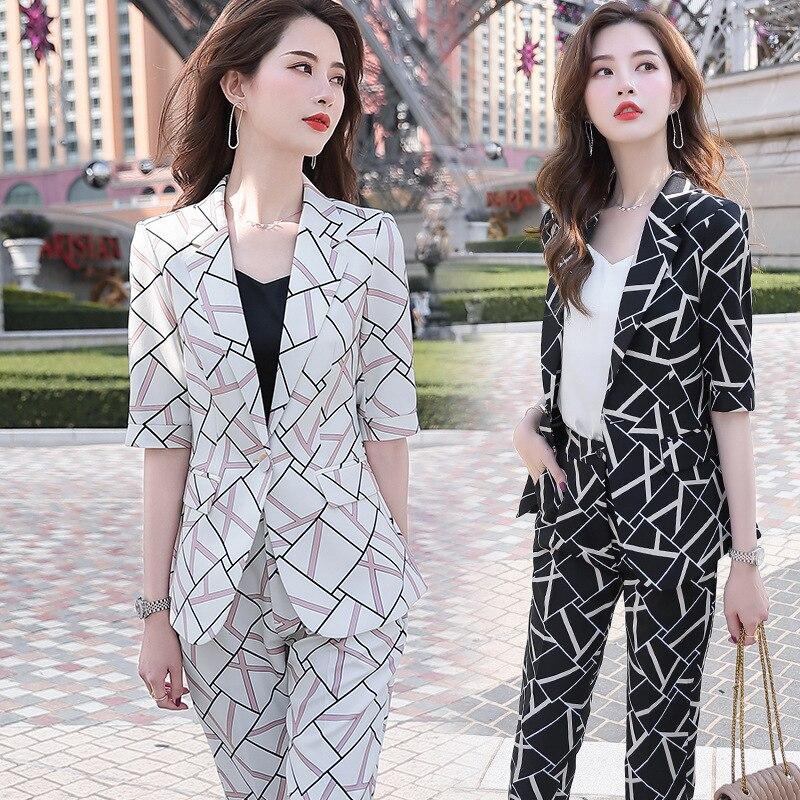 2020 Black White Mixed Color Female Formal Elegant Women Office Pant Suits Business OL Blazer Suit Jackets Trouser 2 Pieces Set