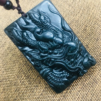 Natural black stone Hand carved black large flying dragon pendant necklace Men and women's beautiful sweater chain